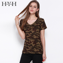 HAOYIHUI 2016 Brand New Women Tees Summer Slim Short Sleeves Camo Printed Loose Army Green V Neck Camber Bottom Vogue Lady Tops army green side pockets v neck short sleeves camouflage dress