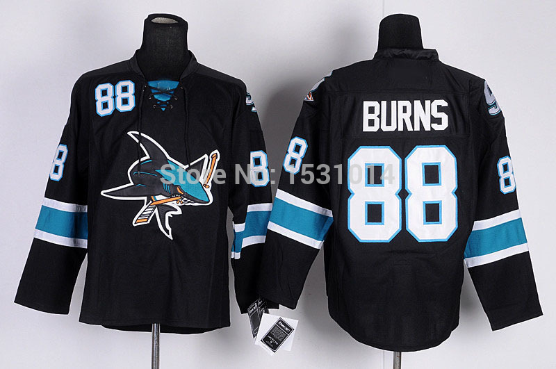 1f18f5d5f1b Top Sale Discount San Jose Sharks Hockey Jerseys  88 Brent Burns Jersey  Black Green Authentic Jersey Brent Burns Stitched Jerse-in Hockey Jerseys  from ...