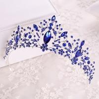 KMVEXO New Blue Pink Crystal Bride Tiaras For Weeding Rhinestone Crowns Bridal Head Jewelry Diadem Headbands Pageant Headdress
