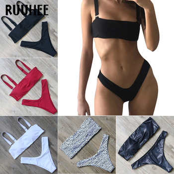 RUUHEE Solid Bikini Swimwear Women Swimsuit High Cut Brazilian Bikini Set Bathing Suit 2018 Beachwear Sexy Bandeau Swimming Suit