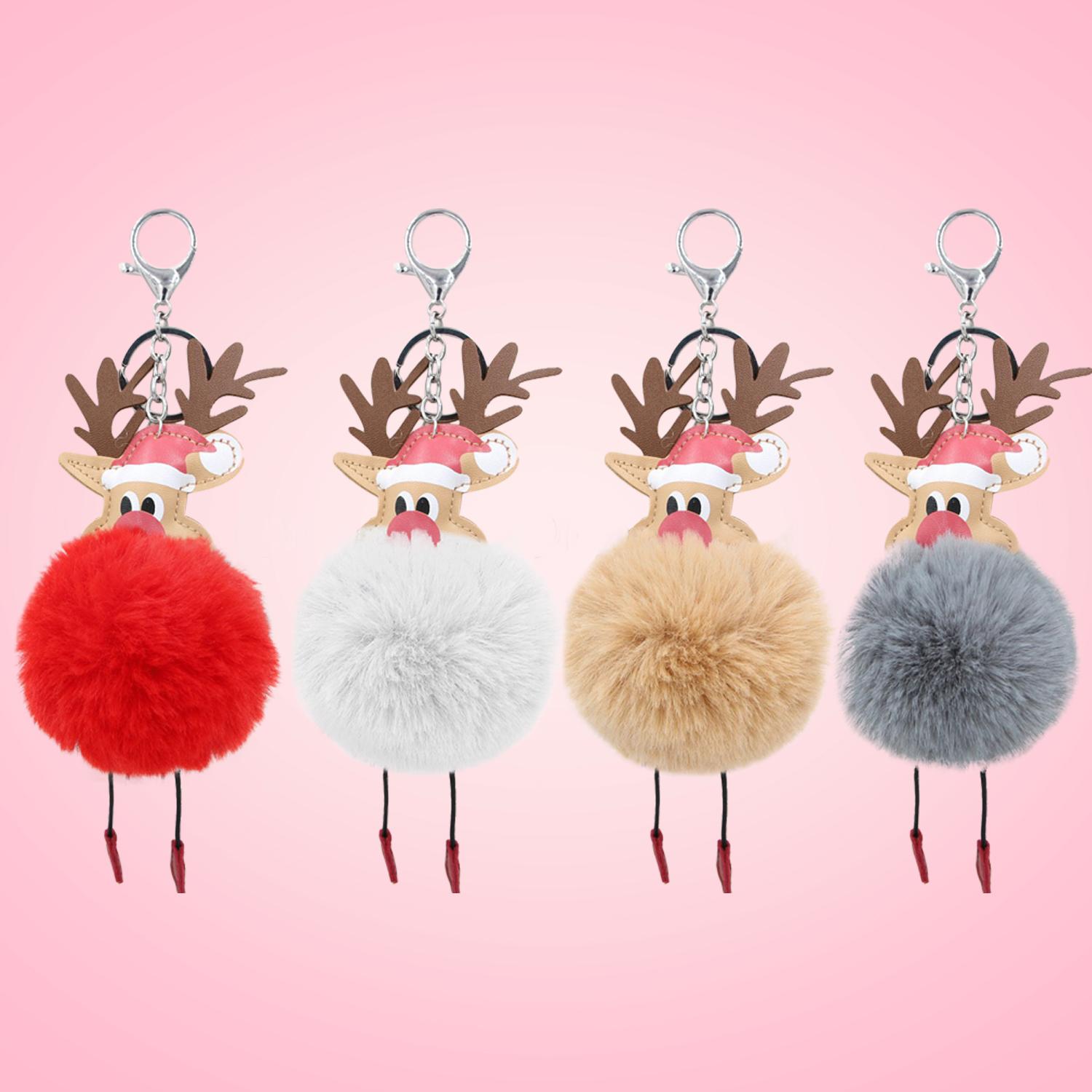 Cute Kawaii Christmas Reindeer Fur Ball Keychain Fluffy Pompon Deer <font><b>Key</b></font> Ring <font><b>Chain</b></font> <font><b>Plush</b></font> Elk Hanging Pendant <font><b>Key</b></font> <font><b>Chain</b></font> <font><b>Toy</b></font> image