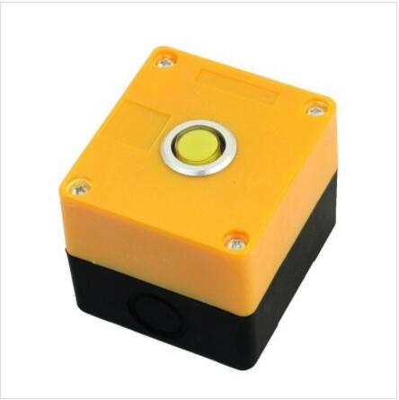 Yellow Light SPDT 1NO 1NC Self-Locking Push Button Station Switch Control Box
