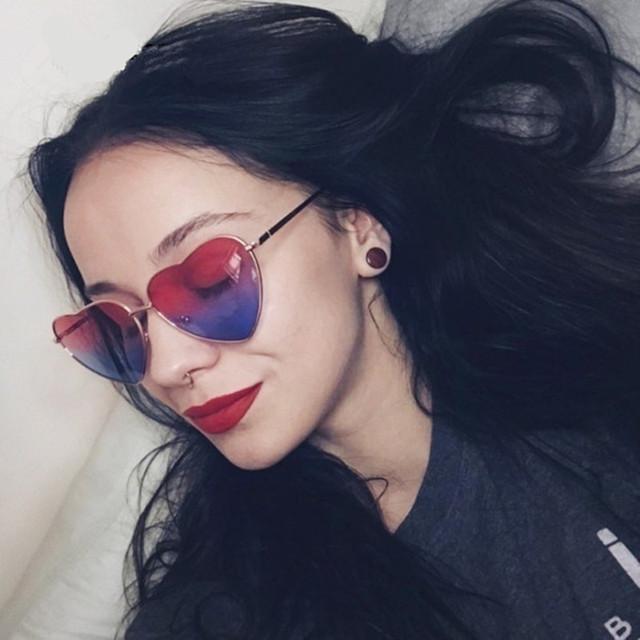 Vintage Heart Shaped Sunglasses Women Brand Designer Red Ladies Metal Gradient Lens Sun Glasses Men Mirror oculos de sol UV400