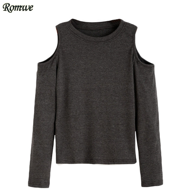 ROMWE Casual Tee Shirts For Women 2016 Autumn New Ladies Plain Round Neck Long Sleeve Open Shoulder Knit T-shirt
