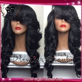 Шелк лучших бесклеевого фронта шнурка человеческих волос парики с челкой шелка топ полные парики шнурка Бразильский девственные волосы парик для чернокожих женщин