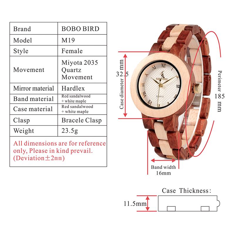 BOBO BIRD Rose SandalWood Elegant Minimal Wooden Watch For Women 7