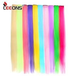 Leeons клип в наращивание волос прямой Ombre Фиолетовый Синий Розовый наращивания волос Для женщин волос Синтетический один клип в волос