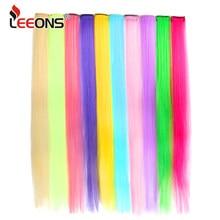 Leeons-extensiones de cabello sintético para mujer, extensiones de cabello postizo con Clip de una pieza, liso, ombré, púrpura, azul y rosa