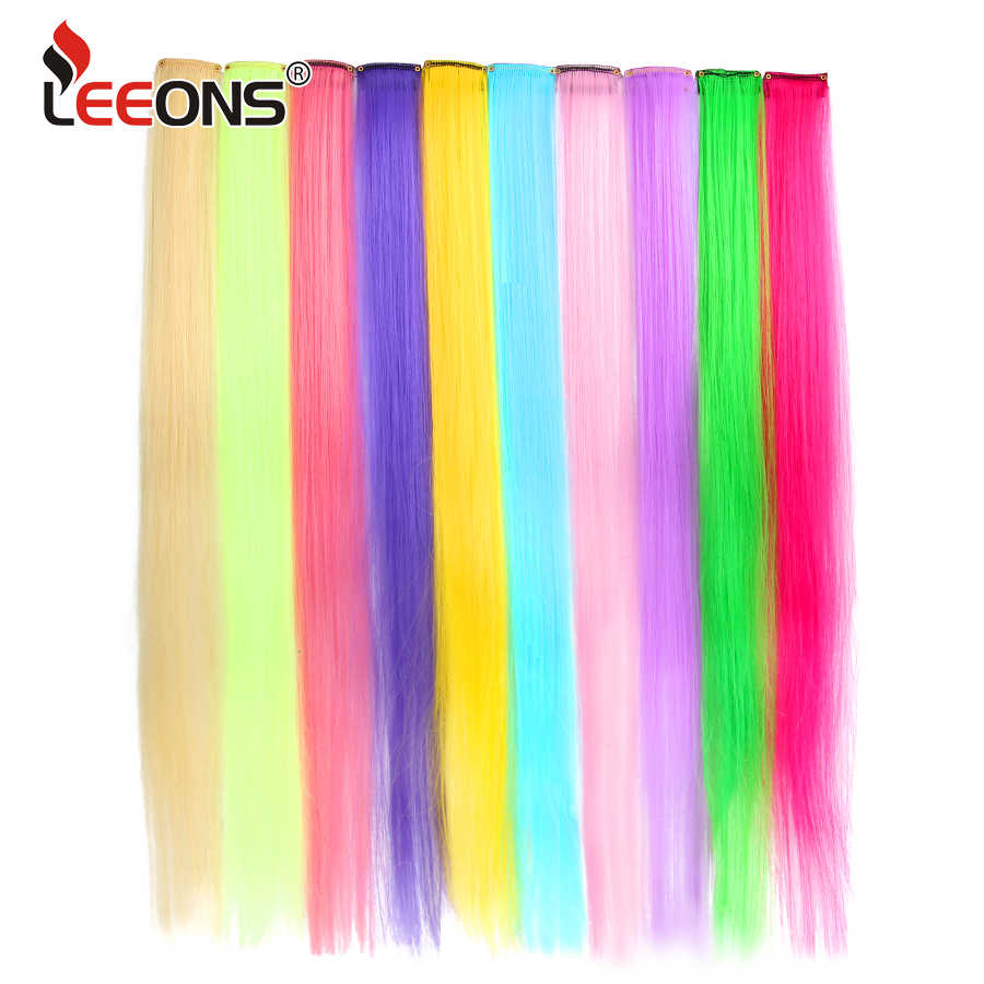 Leeons Clip In One Pieces Hair Extensions Straight Ombre Purple Blue Pink Extension Hair Women Synthetic False Fake Hair