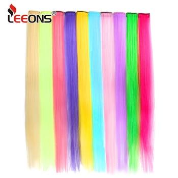 Leeons-extensiones de cabello postizas para mujer, extensiones de cabello postizas con Clip en una pieza, liso, degradado, Morado, azul y rosa
