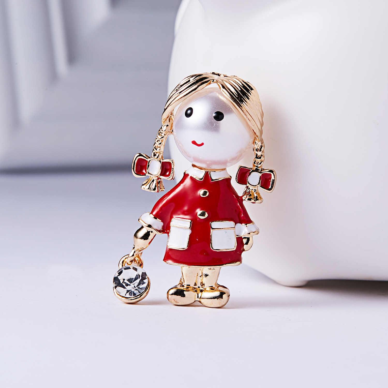 Rinhoo Kecil Lucu Gadis Bros untuk Wanita Opal dan Berlian Imitasi Pin Bros Perak Warna Gaun Mantel Aksesoris Fashion Hadiah