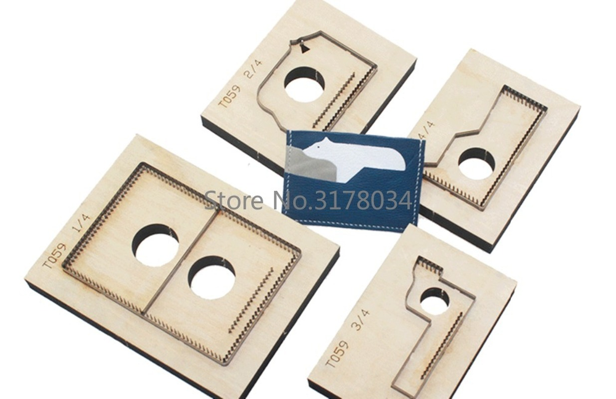 Japan Steel Blade Cutting Dies Punch Bifold Wallet Card Holder Cutting Mold Wood Dies for Leather Crafts