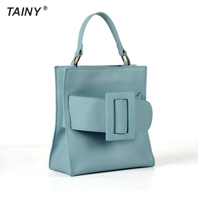 2017 New Arrival Tainy Flap Genuine Leather Cow Leather Totes Top-handle Bags None Single Japan And Korean Style Women Solid Zip