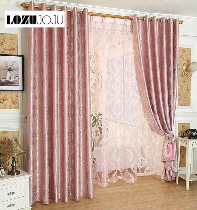 LOZUJOJU Free Shipping Jacquard Design Pink Blackout Curtains For Window Home Tulle Set For Living Room Bedroom Widows Floral