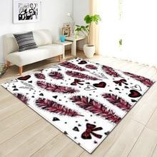 147*203cm Large size Carpets Creative 3D Print Feather pattern Carpet Hallway Doormat Bath Kitchen Absorb Water Antiskid Mat/Rug bohemian floral antiskid bath rug