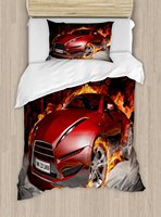 Cars Duvet Cover Set Red Sports Car Burnout Tires in Flames Blazing Engine Hot Fire Smoke Automobile, 4 Piece Bedding Set