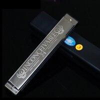 Popular SWAN 24 Hole Tremolo Harmonica C Key Polyphony Harmonicon Black Octave Tuned Mouth Organ Harmonica