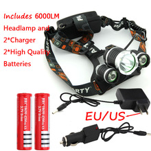 Promotion RJ3000 6000LM CREE XML T6 +2R5 3LED Headlight,Headlamp,Fishing,Head Lamp Light +2*18650 battery+AC Charger+Car Charger