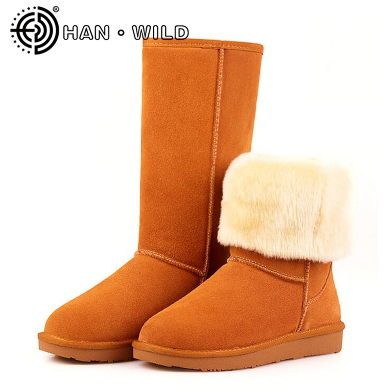 100% Genuine Leather Women Snow Boots Winter Shoes Cow Suede Warm Plush Mid-Calf Boots Classic Australia Snow Boots Shoes цена