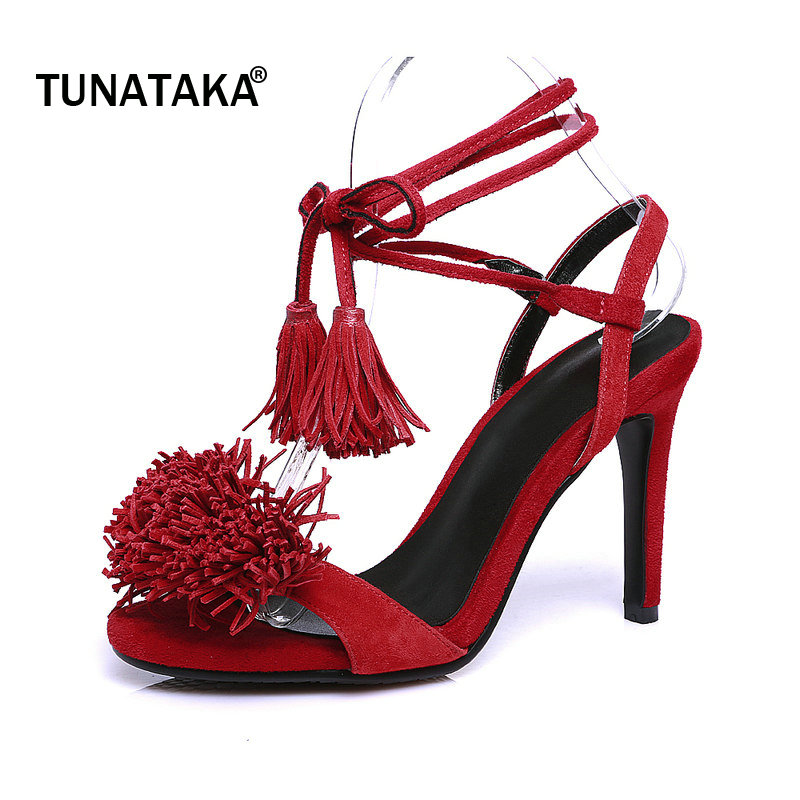 Suede Thin High Heel Open Toe Ankle Strap Woman Sandals Sexy Fringe Lace Up Party High Heel Shoes Summer Woman Shoes Black black sequins embellished open back lace up top