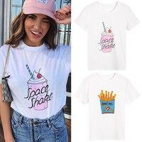 Ecombird 2017 Yaz YÜKSEK KALITE Pist Kadınlar tops kore kawaii kısa kollu Fransız kızartması milk shake beyaz t-shirt tee shirt