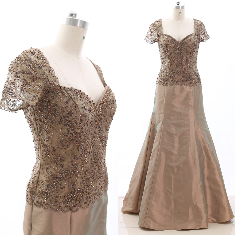 MACloth Champagne A-Line V Neck Floor-Length Long Embroidery Tulle   Prom     Dresses     Dress   M 265434 Clearance
