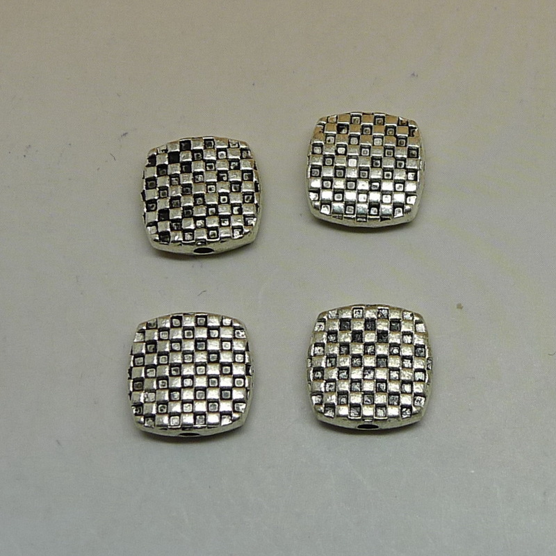 Free shipping Jewelry components Antique Silver alloy City wall Flat beads 10Pcs Small Hole Beads 9.9x10.2x3.4mm