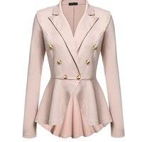 Plus Size Ladies Blazers Office 2018 Fashion Double Button Blazer Women White Suit Jackets Blaser Female