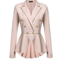 Plus Size Ladies Blazers Office 2018 Fashion Double Button Blazer Women White Suit Jackets Blaser Female
