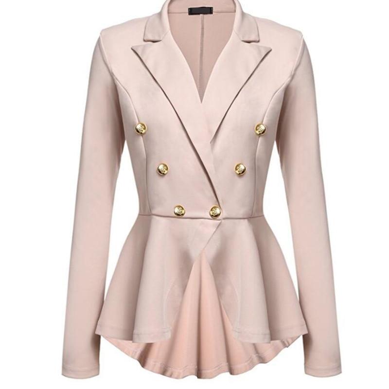 Plus Size Ladies Blazers Office 2018 Fashion Double Button Blazer Women White Suit Jackets Blaser Female Blazer Feminino Mujer