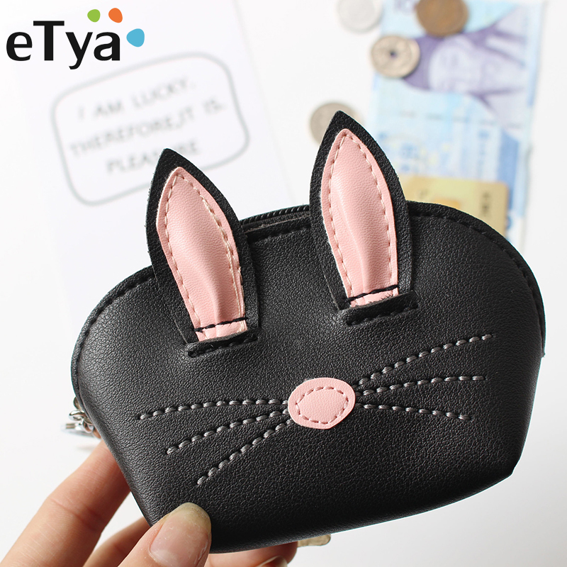 eTya Animal Coin Purse Women Cute Cartoon Cat Wallet Zipper Change Pouch Bag Female Leather Small Mini Clutch Key Card Wallets pacgoth japanese and korean style pu leather coin purse casual animal prints cute cats hot lip pattern zipper cash pouch 1 piece