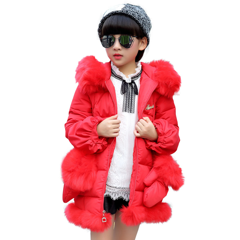 JKP long wool collar cotton coat Girls fashion winter models jacket 2018 new version of the children's padded coat MF-182 thicken in the long paragraph down cotton padded 2018 girls jacket new korean female baby winter coat children s coat mf 28