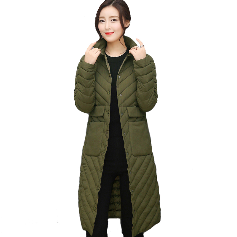 2017 breast button long women winter jacket solid color black casacos de inverno feminino autumn cotton padded female coat parka велосипед stels navigator 380 2016