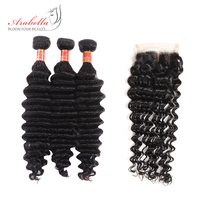 Arabella Indian Human Hair Bundles With Closure Hair Extension Remy Hair 3 Pcs Deep Wave Bundles With Closure 4*4 Pre Plucked