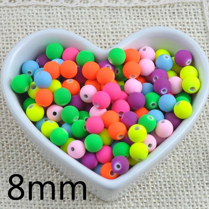 100 шт. 8 мм Смешанные Карамельный цвет акрил Неон Матовые Круглые шарики прокладки для ювелирных изделий ручной работы ykl0084x-8mm