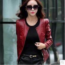 3XL Plus Size Large Leather Jacket O-Neck 2016 Spring Autumn New Women's Leather Female Short Zippers Jacket Jaqueta De Couro