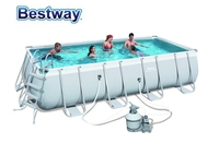 56466 Bestway 549x274x122cm Rectangular Pool Set 18'x9'x48 Steel Frame Above Ground Swimming Pool Kit Filter,Ladder,Mat,Cover