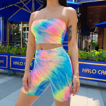 Hugcitar tie dye print sexy tank top biker shorts 2 two piece set 2019