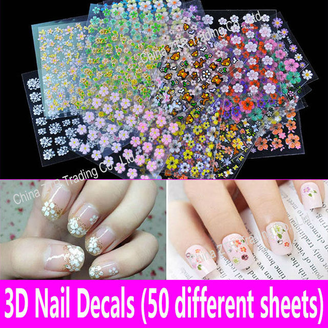 3D Nail Decals Nail Art Stickers 50 Different Sheets Kids Girls ...