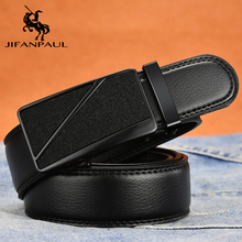 JIFANPAUL leather belt mens automatic buckle brand retro surface irregular beautiful pattern black youth