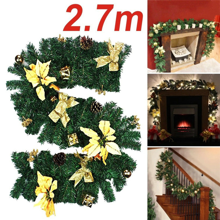 new large christmas wreath 1pc 27m 220 branches christmas decorations ornaments xmas tree garland rattan home wall decor 30 in wreaths garlands from home - Large Christmas Tree Ornaments
