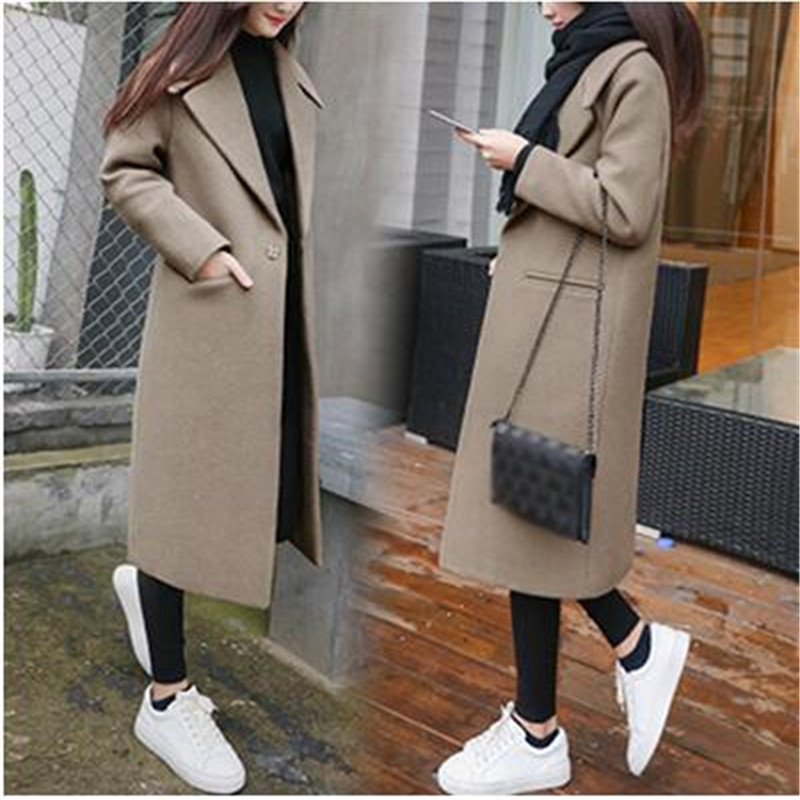 Women'S Long Lapel Wool Blend Coat Thicken Loose Solid Color Dark Buckle Long Knee Coat Winter Large Size Wool Coat Female New