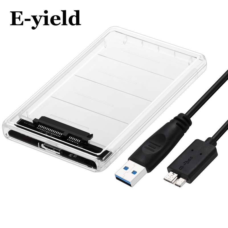 Transparent HDD Case 2.5 inch USB3.0 to Sata 3.0 Tool Free 5 Gbps Support 2TB UASP Protocol Hard Drive Enclosure