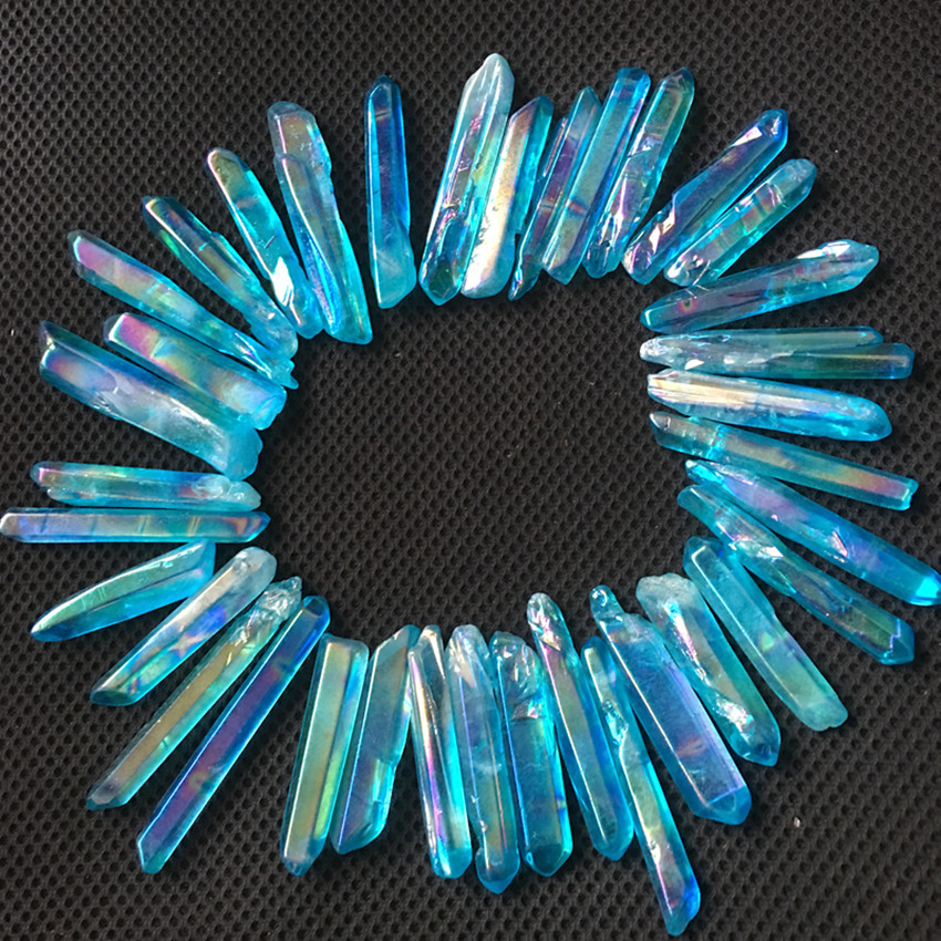 10pcs blue Rainbow Titanium Aura quartz wand natural stones and minerals healing crystals rough gemstones for making jewelry