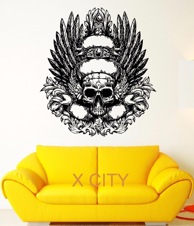 Black Skull Skeleton Weared Feather Crown Fear Wall Art Decal ...