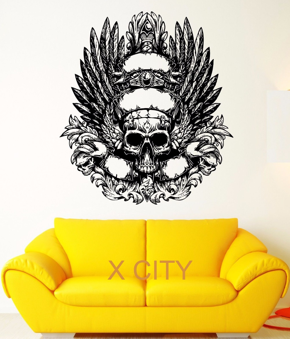 compare prices on wall stencils feather online shopping buy low black skull skeleton weared feather crown fear wall art decal sticker removable vinyl transfer stencil mural