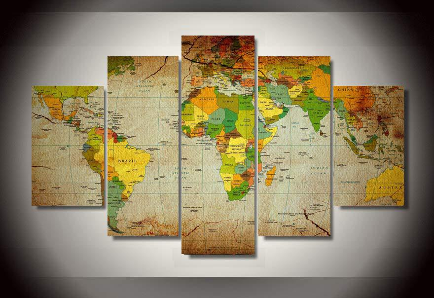 HD Printed Map Group Painting wall art room decor print poster ...