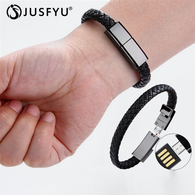 JUSFYU Lether USB Data Synchronize Cable Braided Bracelets Bangles For Iphone X 6s Phone