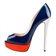Navy Blue Women Pumps Peep Toe With Red Platform High Heels OL Shoes Ladies Platforms Shoes Pumps Large Size 15 Slip-ons