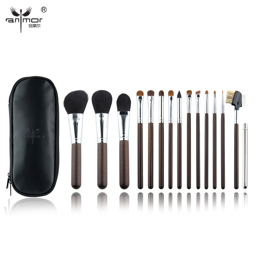 ФОТО Anmor 15 Pieces Professional Makeup Brushes Natural Hair Make Up Brushes High Quality Makeup Brush Set With Bag